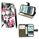Samsung Galaxy S3 Mini i8190 Case, Kamal Star® PU Leather Flip Protective Magnetic Wallet Cover Case + Free Stylus( Pink Flower Dark Grey Book)