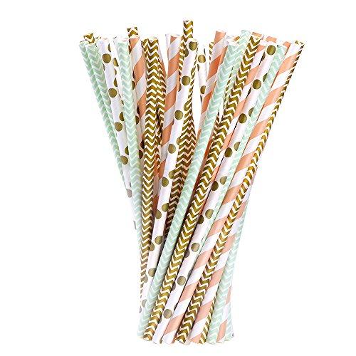 100 Pièces Papier de Paill pour Anniversaire, Mariage, Noël, Douche de Bébé, Célébration et Fête (Or, Vert et Orange)