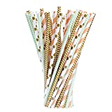 eBoot Paper Drinking Straws for Birthdays, Weddings, Christmas, Celebrations and Parties, Gold, Green and Orange, 100 Pieces