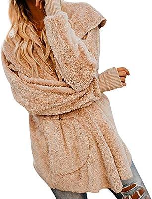 iYBUIA Womens Winter Solid Color Warm Windproof Fluffy Coat Fleece Fur Jacket Outerwear Hoodies Wrap S XL