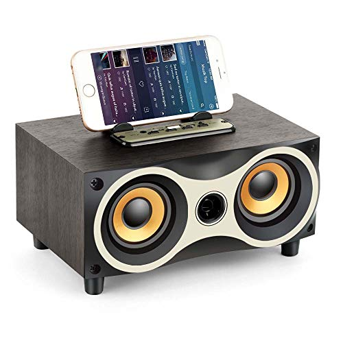 Portable Wooden Wireless Speaker Subwoofer Stero Bluetooth Speakers Radio FM Desktop Caixa De Som for Iphone Android,Black (De Apple Bluetooth Caixa Som)