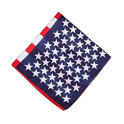(ComboCube 12 Pack(one Dozen) Multi-Purpose novelty Cotton Paisley Cowboy American Flag Bandanas Headband for Men,Women and Child(US)