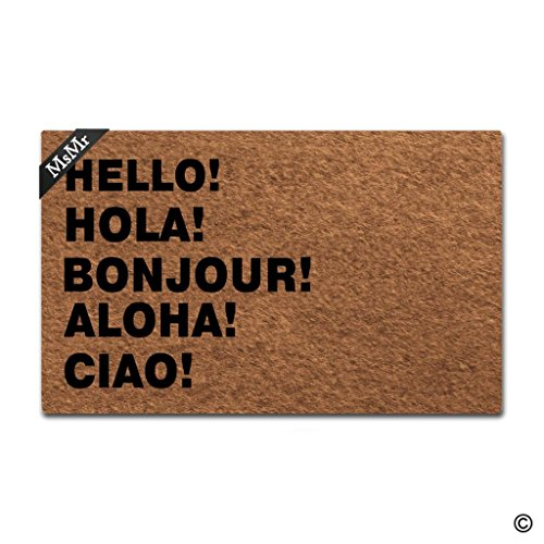 Cheap  MsMr Doormat Entrance Floor Mat Funny Door Mat Hello! Hola! Bonjour! Aloha!..