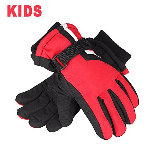 AMYIPO Kids Winter Snow Ski Gloves Waterpoof Children Snowboard Gloves for Boys Girls (Red-2, 5-6 Years)