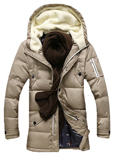 Khaki Hoodie Mens Coats Fit Casual Jackets EKU l Pocket Warm Slim Zipper ROPwgn
