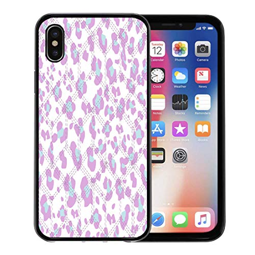 Emvency Phone Case for Apple iPhone Xs Case/iPhone X Case,Blue Beauty Pink Animal Leopard Skin Pattern Black Abstraction Soft Rubber Border Decorative, Black