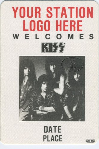 (Rare KISS 1988 Radio Promotional Backstage Pass Blank For Radio Stations)