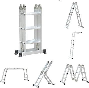 kitechild 6 en 1 3.6 m Escalera escalera multifunción multiusos Escalera aluminio ajustable – Escalera Articulación – Escalera escalera escalera escalera escalera Andamio trabajo Etapa 12 peldaños 150 kg capacidad de carga: Amazon.es: Bricolaje y ...