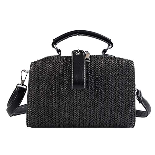 Oucan Women Vintage Fringed Straw Bag Casual Wild Vacation Simple Weave Crossbody Bag ()