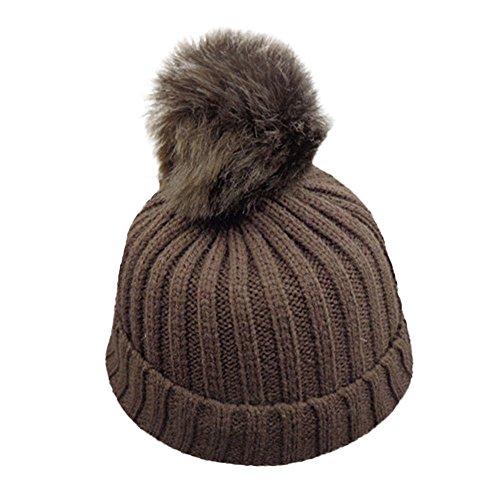 ZTY66 Baby Winter Warm Knit Hat Infant Toddler Kid Crochet Hairball Beanie Cap -