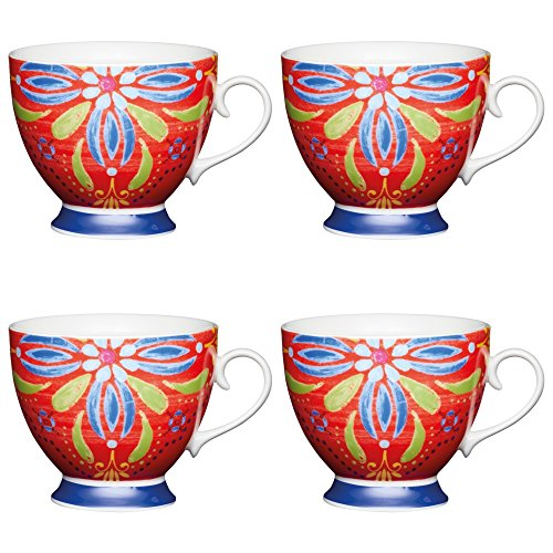 Cup Footed Bone China - Kitchen Craft Large Bone China 'Moroccan Red' Footed Floral-Patterned Mugs, 400 ml - Multi-Colour (Set of 4)
