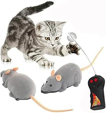 Binnan Juguete Mini Ratón Rata con Control Remoto de Dos Canales para Gatos o Niños, Gris