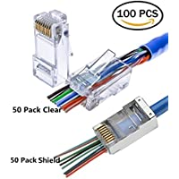 RJ45 CAT6 Shielded Connector Clear Plug 8P8C End Pass Through 100 Pack