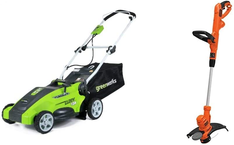 Greenworks 16-Inch 10 Amp Corded Electric Lawn Mower 25142 & Black+Decker String Trimmer with Auto Feed, Electric, 6.5-Amp, 14-Inch (BESTA510)