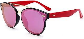 Y-WEIFENG Lentes Gafas de Sol de protección UV con Marco de Flor Redondo Color Vintage para Las Mujeres Conducir al Aire Libre Viajar