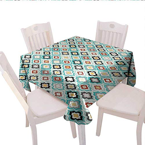 (Geometric Square Tablecloth Vintage Ottoman Style Floral Design with Old Fashion Heraldic Tiles Artistic Image Farmhouse Tablecloth 50