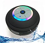 Portable Bluetooth Shower Speaker with Color Changing LED Lights. IPX4 Water Resistant with Removable Suction Cup, Handsfree Speakerphone, MicroSD Slot for Local Playback & FM Radio! (Black)
