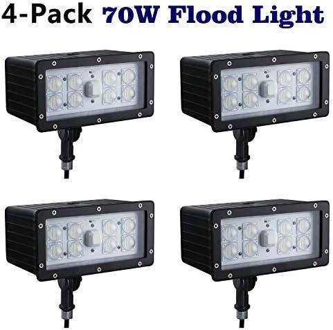 1000LED LED Flood Light 70W, 4-Pack, Flood Flag Light Outdoor, 6,800Lm, AC110-277V, Waterproof IP65, 5000K, Knuckle Mount