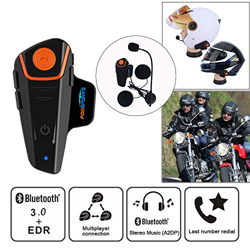 Motorcycle Helmet Headset, Fodsports BT-S2 Intercom Communication System Waterproof Motorbike Helmet Interphone Bluetooth Headsets with 1000m, GPS, FM Radio, MP3 Player, Connect up to 3 Riders