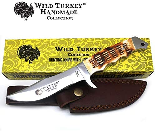 Wild Turkey Handmade Collection 9 Fixed Blade Burned Bone Hunting Knife w Leather Sheath