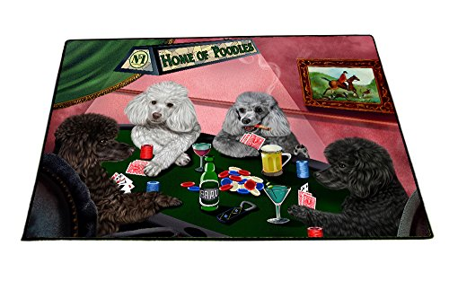 Poodle Door Mat (Home of Poodles 4 Dogs Playing Poker Floormat 18
