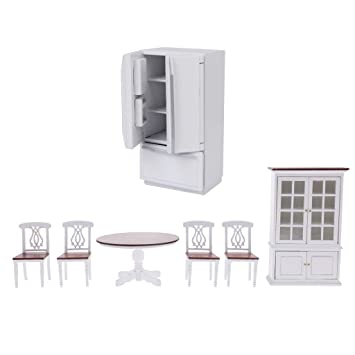 Amazon.es: MagiDeal Kit de Muebles de Cocina Mesa Redonda Sillas y ...