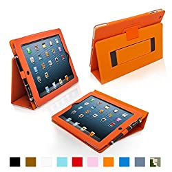 Snugg iPad 4 & iPad 3 Case - Leather Case Cover and Flip Stand with Elastic Hand Strap and Premium Nubuck Fibre Interior (Orange) - Automatically Wakes and Puts the iPad 4 & 3 to Sleep. Superior Quality Design as Featured in GQ Magazine