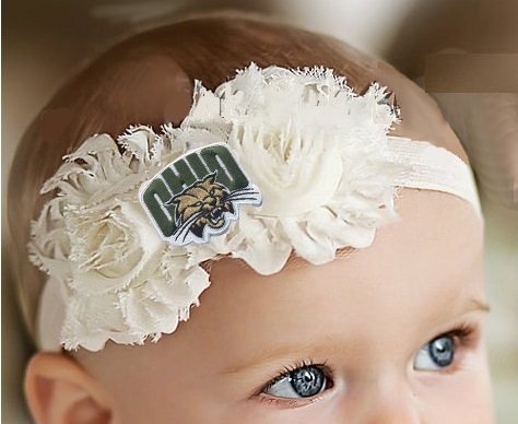 Future Tailgater Ohio Bobcats Baby/Toddler Shabby Flower Hair Bow Headband (6-12 Months/ 14