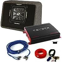 Kicker 11TS10L72 Solobaric Enclosure with Crunch PX2000.1D 2000 Watt Max Mono Amp, Bass Knob and Amp Kit