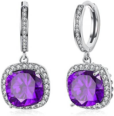 Chigant 925 Sterling Silver Women's Diamond Stud Earring Crystal Square Halo Drops Celebrate for Gift