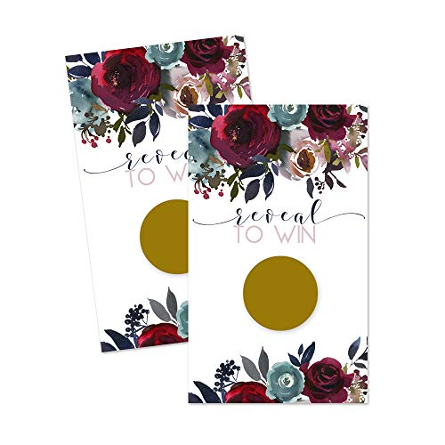 Navy Floral Scratch Off Game Cards (28 Pack) Wedding Baby Shower Party Raffles