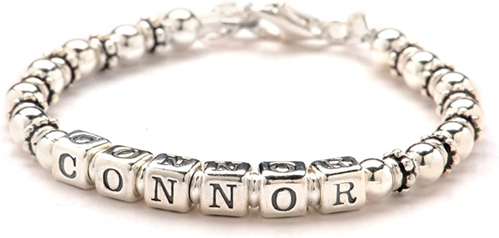Silver Bracelet for Girls or Boys Personalised Any Name Size Choice of Charm