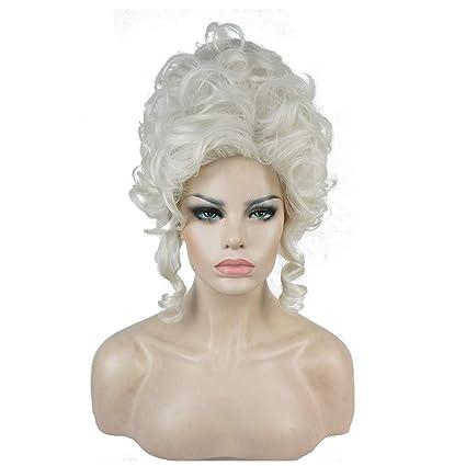 Peluca Pelucas, Señoras Blancas Sintéticas Retro Bollo Rizado Suave como Peluca Mullidas del Cabello Humano