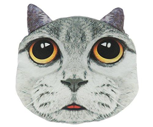 Adorable gato cara de gato pequeño bolso de mano bolso de hombro Pale Grey Tabby Black Yellow Eyes