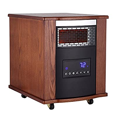 Thermal Wave by Sunheat TW1500-UV Modern Oak Infrared Portable Heater with Remote and Air Purification