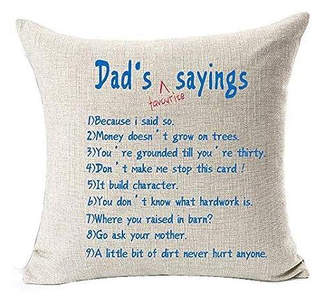 Happy Fathers Day - Funda de cojín Decorativa de Lino y ...