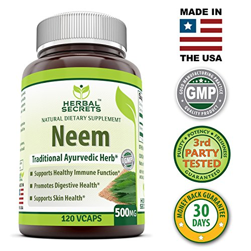 Herbal Secrets Neem 500 Mg 120 Vegetarian Capsules * Promotes Blood Purification , Promotes healthy Immunity and Promotes health Skin