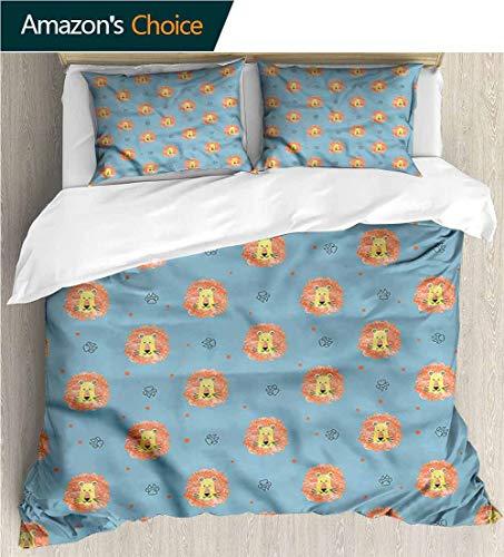 carmaxs-home European Style Print Bed Set,Box Stitched,Soft,Breathable,Hypoallergenic,Fade Resistant 100% Cotton Bedspread/Quilt Set,3 Pieces-Lion Paw Prints Jungle Predator (104