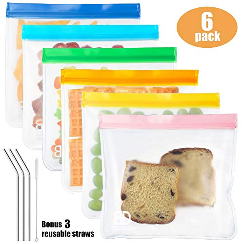 (Reusable Sandwich Bags (6-pack Large Size),Wattne Reusable Leakproof Ziploc Kids Snack Bags, FDA Grade PEVA Biodegradable Storage Baggies for Food, Lunch, Make-up (+ 3 Metal Straws + 1 Straw Brush) )