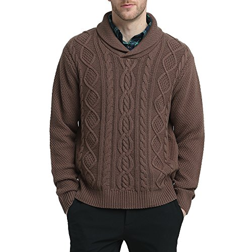 Kallspin Mens Relaxed Fit Solid Shawl Collar Sweater Pullover Cable Fisherman (Coffee, M) - Collar Mens Sweater