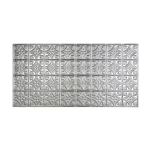 - Fasade Easy Installation Traditional 1 Brushed Aluminum Glue Up Ceiling Tile / Ceiling Panel (2' x 4' Panel)