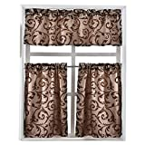 NAPEARL Set of 3 Pieces Rod Pocket Kitchen Cafe Curtains Valance and Tiers Window Treatment Set (Brown 3)