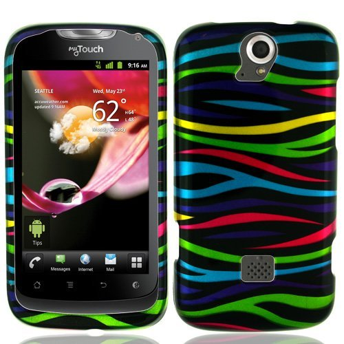 (Rainbow Zebra Hard Case Snap On Cover For Huawei myTouch Q 2 U8730 (T Mobile))