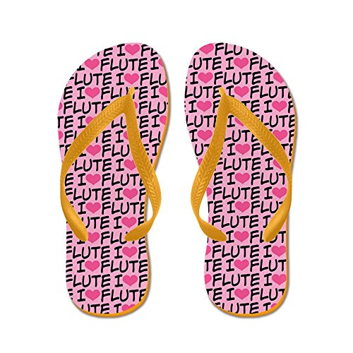 CafePress Flute Music - Flip Flops, Funny Thong Sandals, Beach Sandals Orange