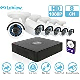 LaView 1080P HD 6 Cameras 8CH Security System DVR with 2TB HDD 2MP Bullet Cam Surveillance Kit
