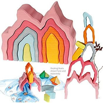 Grimm's Coral Reef Wooden Undersea Arches Nature Blocks Nesting Stacking Puzzle Toy