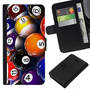 All Phone Most Case / Oferta Especial Cáscara Funda de cuero Monedero Cubierta de proteccion Caso / Wallet Case for Sony Xperia M2 // Pool Billiard Balls Colorful Numbers Game Art