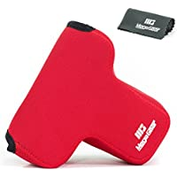 MegaGear Ultra Light Neoprene Camera Case Bag with Carabiner for Sony Alpha a7 II, a7R II, & a7S II Mirrorless Digital Camera and Select Lenses (Red)