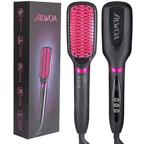 Hair Straightener Brush, ALWOA Double Negative Ionic 2-in-1 Straightening beard Brush with Anti-Scald Feature, NTC Control Security Protection,Temperature Locking & Auto-Off Function (Rose Gold/Black)