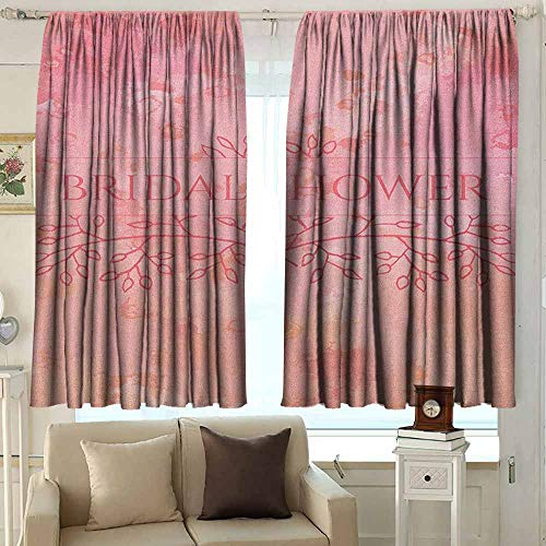 AFGG Single Panel Print Window Curtain Bridal Shower Bride Invitation Grunge Abstract Backdrop Floral Design Print Room Darkening, Noise Reducing 72 W x 63 L Inches Pale Pink and Salmon (Baby Pink Invitations Shower Paisley)